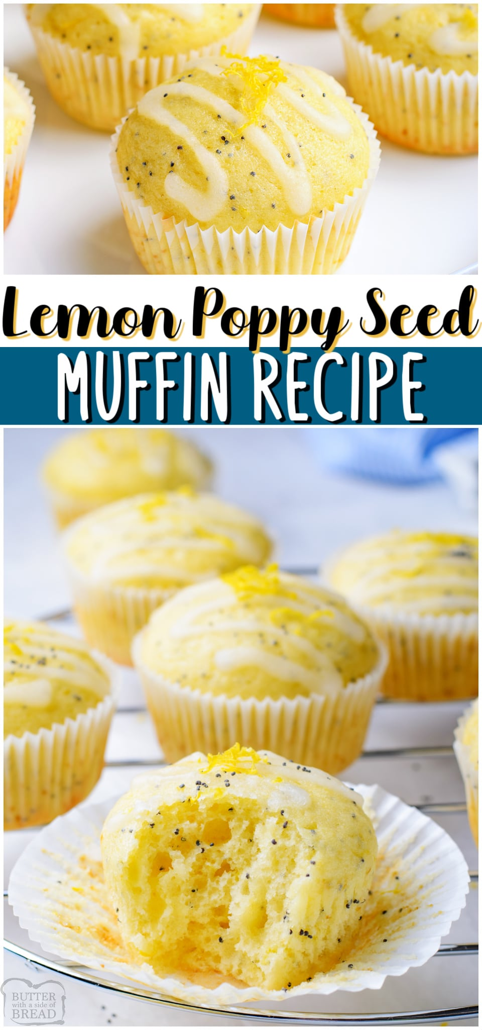 Lemon Poppy Seed Muffins made with traditional ingredients, plus fresh lemon, greek yogurt & poppy seeds! Tender lemon muffins with bright flavor & drizzled with a tangy sweet lemon glaze.