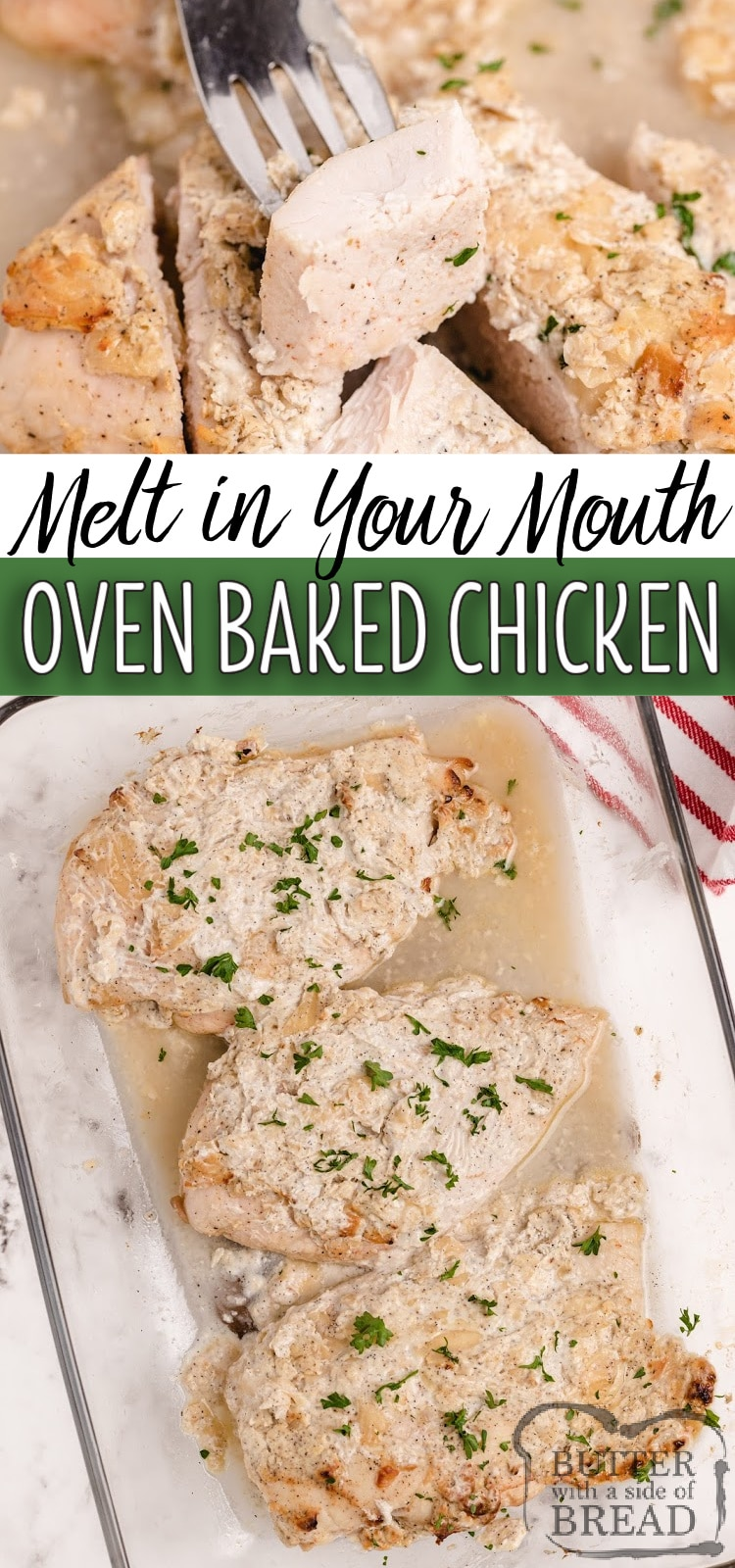 Oven Baked Chicken Breasts coated in Greek yogurt, Parmesan cheese and seasonings for a delicious baked chicken breast recipe that everyone loves! This chicken is juicy, flavorful, healthy and high in protein.