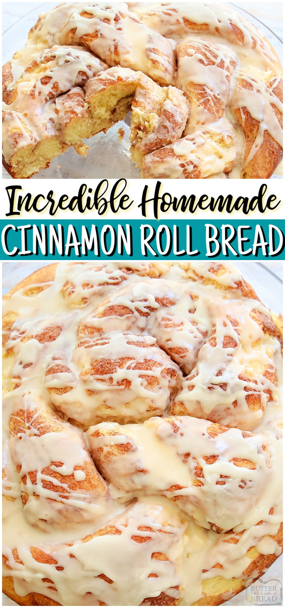 Homemade Cinnamon roll bread is everything we love about cinnamon rolls, in bread form! Simple, delicious sweet bread recipe with swirls of buttery cinnamon baked in tender bread dough & drizzled with an easy glaze. #cinnamonrolls #bread #baking #yeast #homemade #breakfast #easyrecipe from BUTTER WITH A SIDE OF BREAD