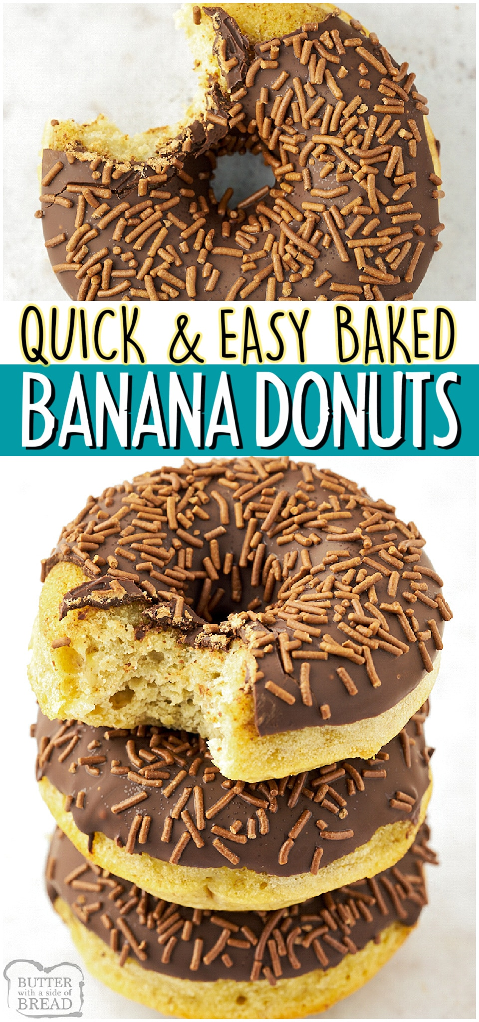 Baked Banana Donuts made with flour, cornstarch, sugar, butter, eggs & ripe bananas! Easy donut recipe covered in chocolate glaze & chocolate sprinkles that everyone loves!#bananas #donuts #breakfast #baked #baking #chocolate #easyrecipe from BUTTER WITH A SIDE OF BREAD