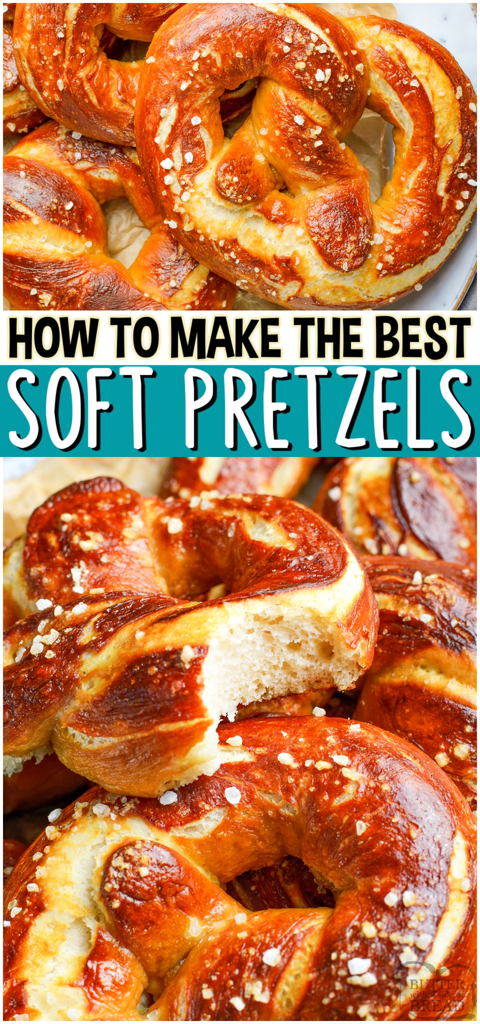 Homemade Soft Pretzels recipemade with pantry ingredients & SO delicious! Step-by-step instructions for how to make soft pretzels and an easy cheese sauce to dip! #pretzels #softpretzels #homemade #howtomake #easyrecipe from BUTTER WITH A SIDE OF BREAD