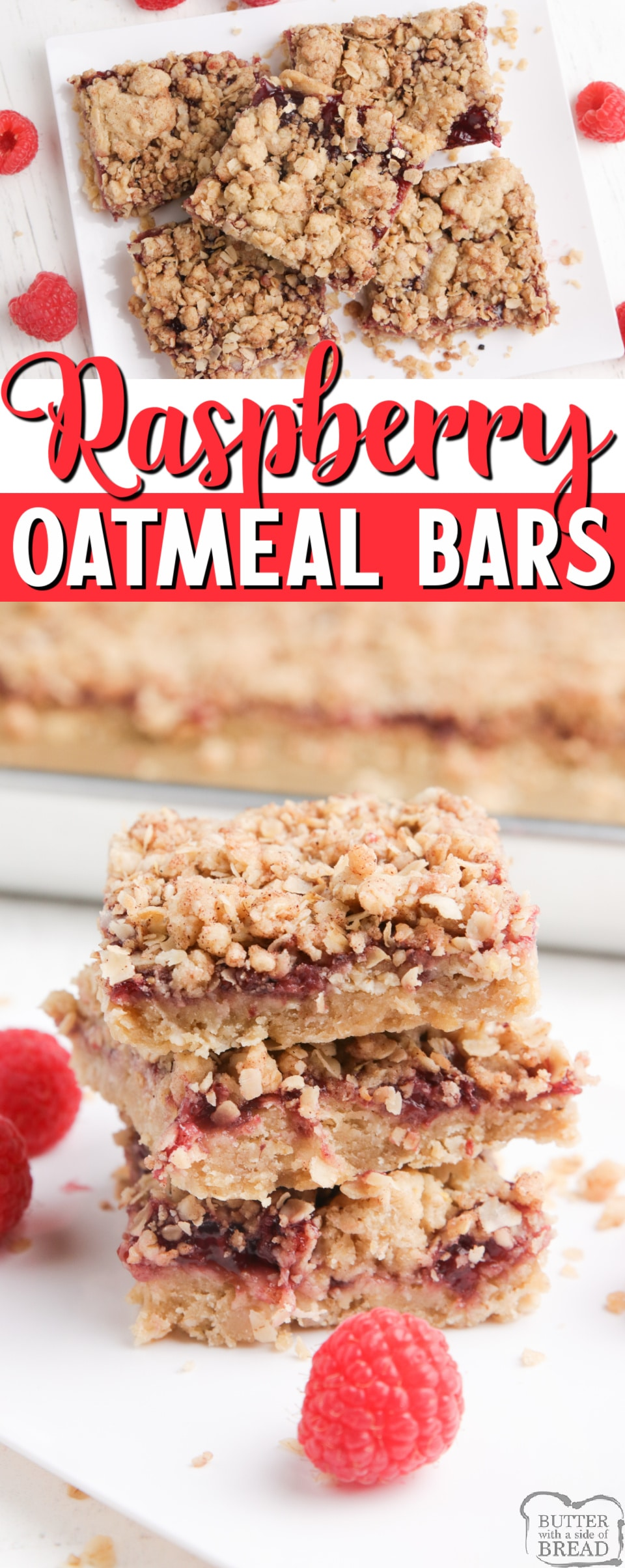 Raspberry Oatmeal Bars made with raspberry pie filling sandwiched between two delicious oatmeal cookie layers. Only 7 ingredients needed for this simple oatmeal bar recipe.