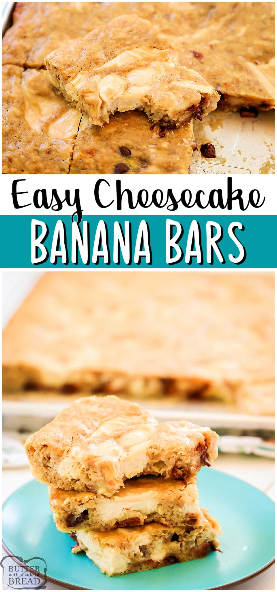 Cheesecake banana bars are soft, flavorful cinnamon banana bars with a vanilla cheesecake swirl! Easy recipe for ripe bananas that's so much better than banana bread! #bananas #cake #dessert #cheesecake #baking #easyrecipe from BUTTER WITH A SIDE OF BREAD