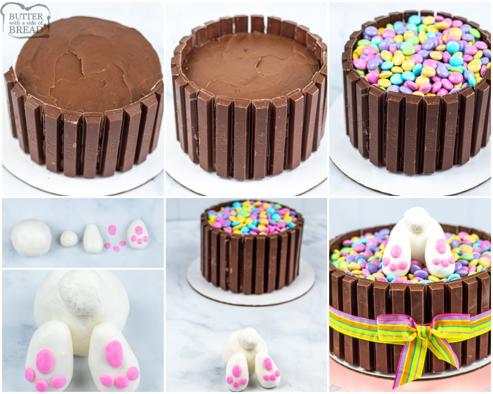 How to Make an Easter Bunny KitKat Cake