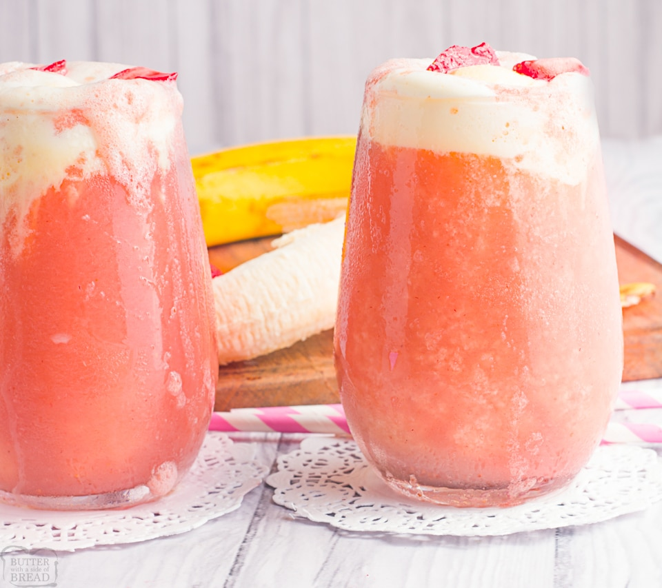 Simple & delicious strawberry banana ice cream float that's part smoothie, part slurpee and ALL amazing! Fresh strawberries and bananas blended, then topped with soda & ice cream. This Strawberry Banana Ice Cream Float is a fun treat everyone enjoys!