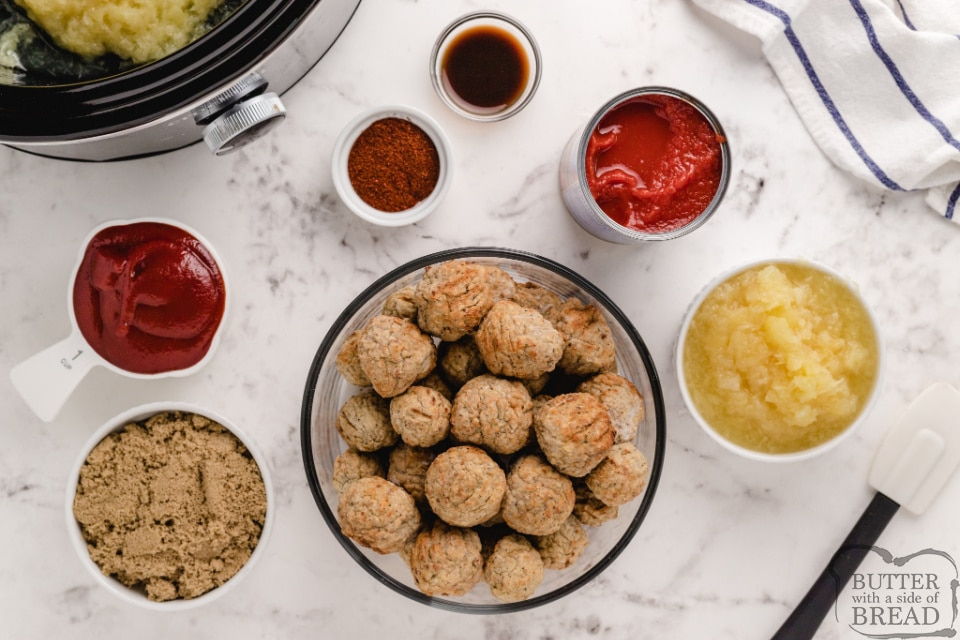 Ingredients in sweet and sour meatballs