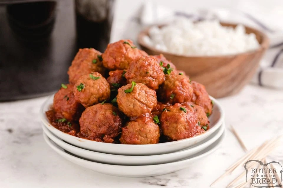 Slow cooker meatballs in a sweet and sour sauce