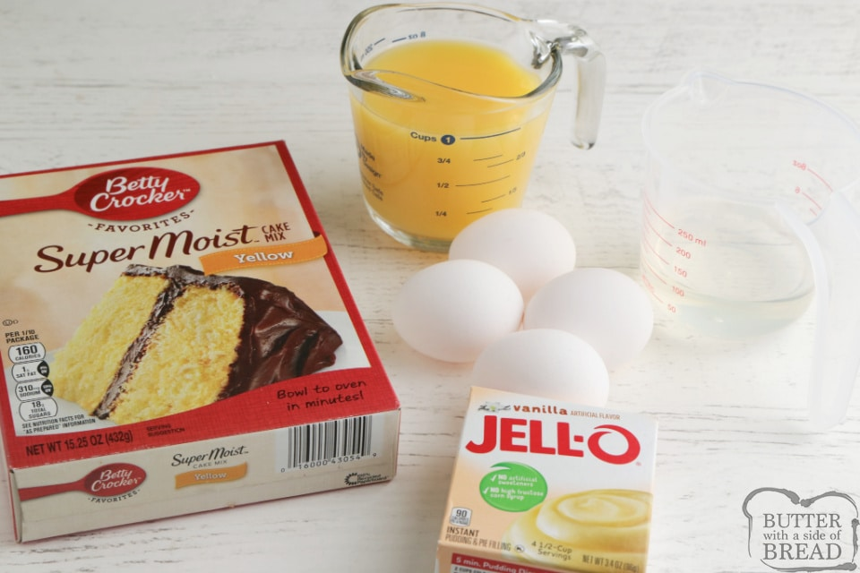 Ingredients in orange juice bundt cake