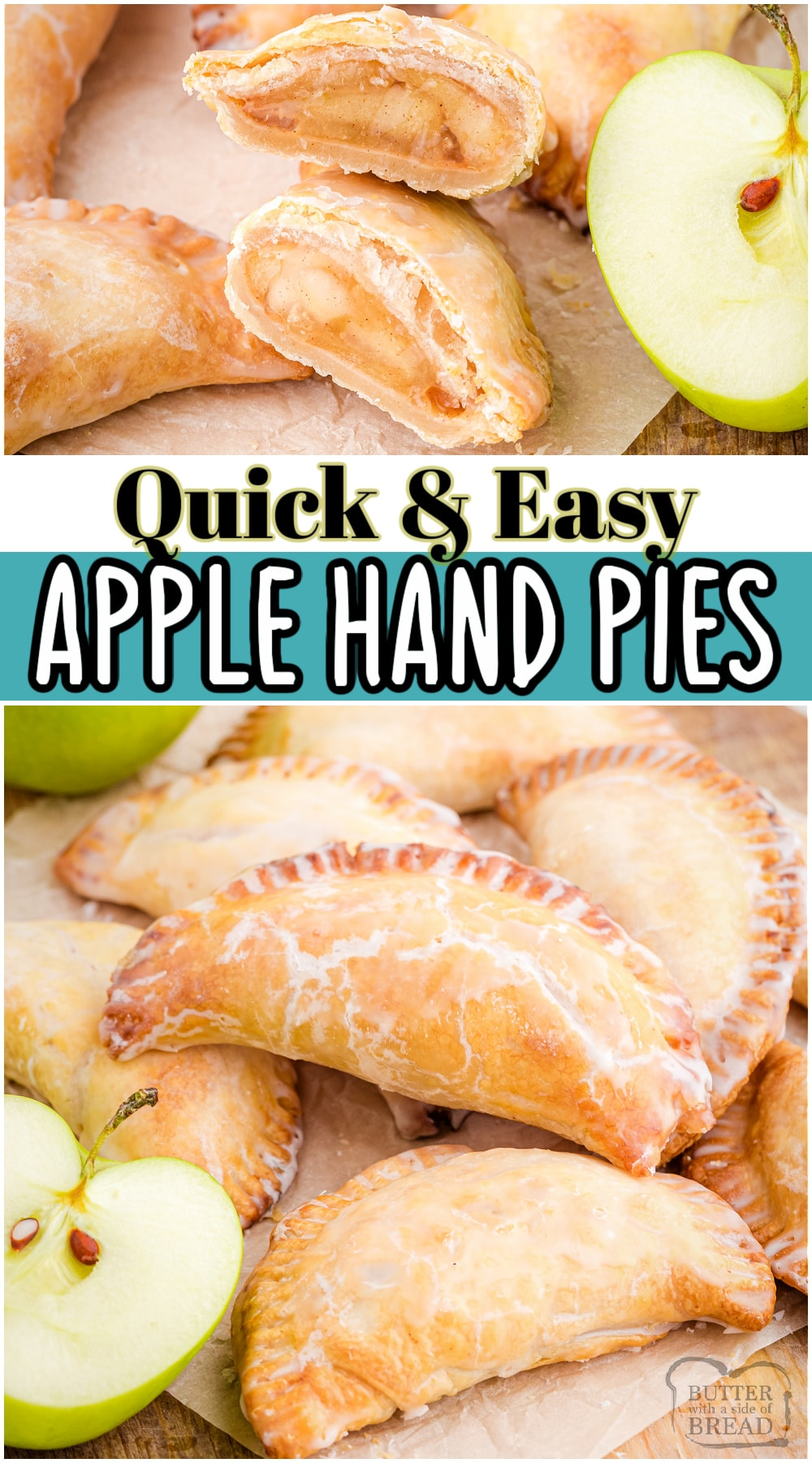 Easy Apple Hand Pies made with fried cinnamon apples, a buttery crust & topped with a simple glaze. These adorable apple hand pies are pure comfort food & taste just like individual apple pies.