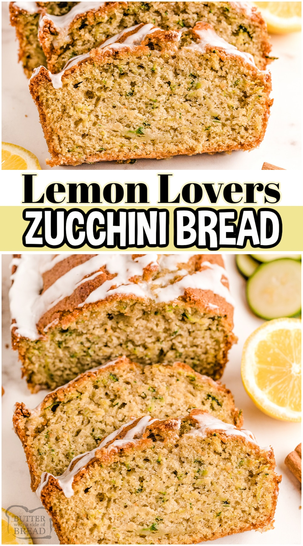 Iced Lemon Zucchini Bread recipe made with simple ingredients and has fantastic flavor! Light & soft sweet bread that uses garden zucchini and the bright, fresh flavor of lemon. Fun variation on classic zucchini bread!