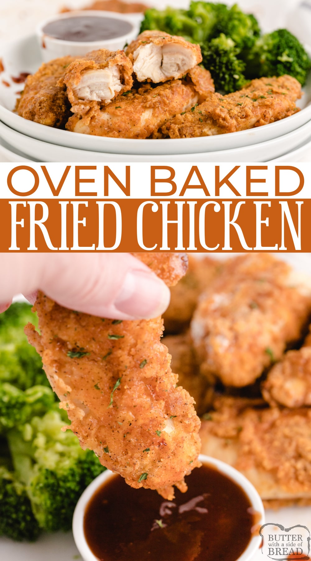 Oven Baked Fried Chicken made with chicken tenders hand breaded in a simple coating and then baked in the oven. Tastes just like fried chicken without frying in oil!