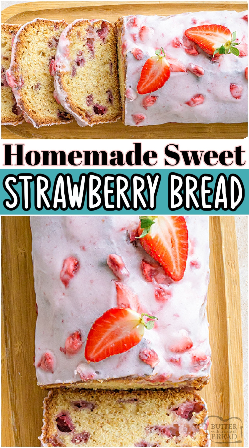 Strawberry Bread with Glaze is a delicious sweet bread recipe made with fresh strawberries. We love the classic ingredients and easy method for making this strawberry quick bread!