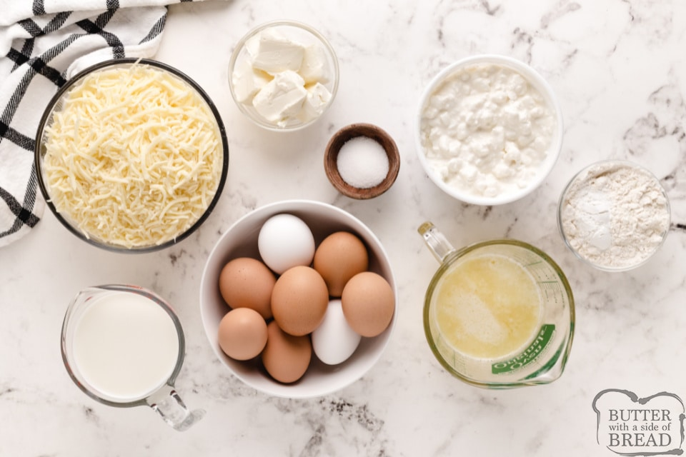 Ingredients in Cheesy Baked Egg Casserole