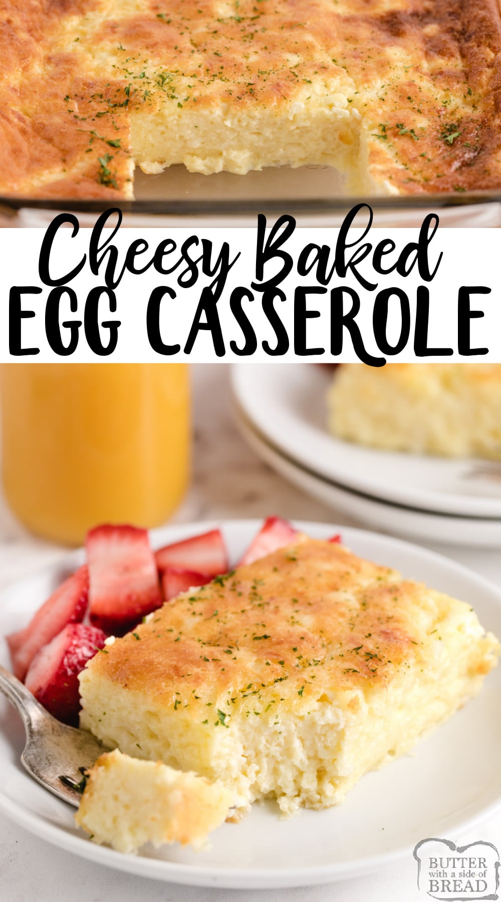 Cheesy Baked Egg Casserole made with eggs, milk and three different kinds of cheese. Perfect baked breakfast casserole recipe with tons of protein!