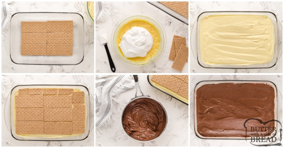 Step by step instructions on how to make no bake chocolate eclair dessert
