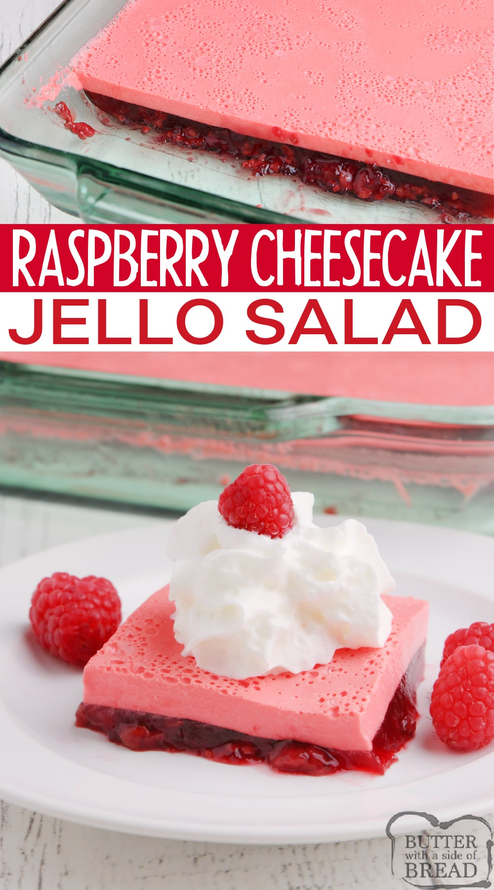 Raspberry Cheesecake Jello made with only 4 ingredients for a delicious side dish or dessert. This Jello recipe is made with cream cheese, yogurt and pie filling and can be made in any flavor you want!