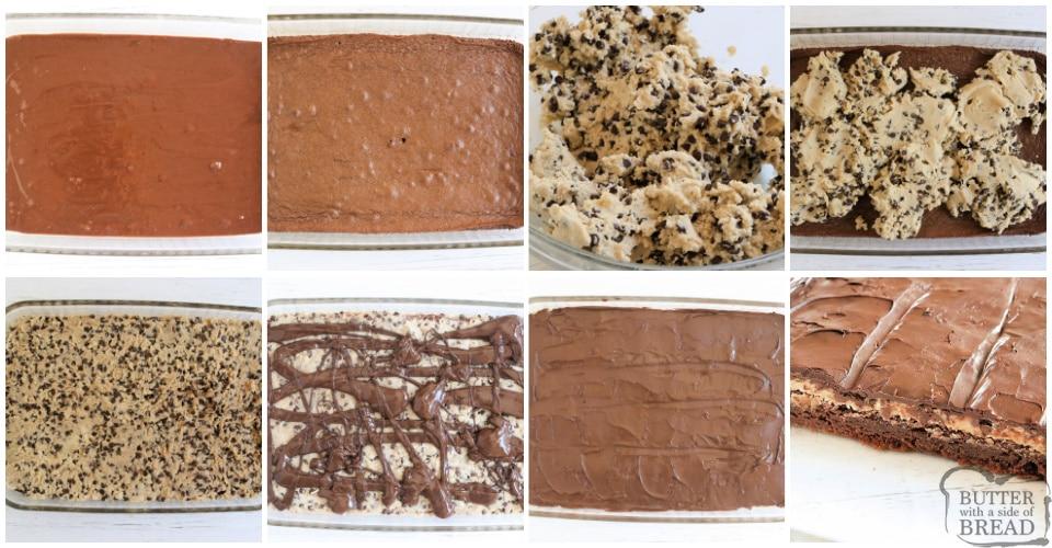 Ingredients in chocolate chip cookie dough brownies