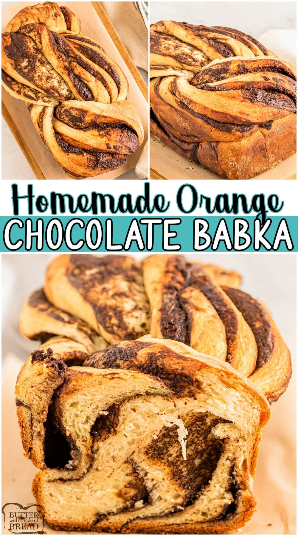 Homemade Chocolate Babka recipe with a bright fresh addition of orange zest! Lovely Babka bread braided with a layer of chocolate ganache for a delicious sweet bread that everyone loves! #bread #babka #chocolate #orange #baking #easyrecipe from BUTTER WITH A SIDE OF BREAD