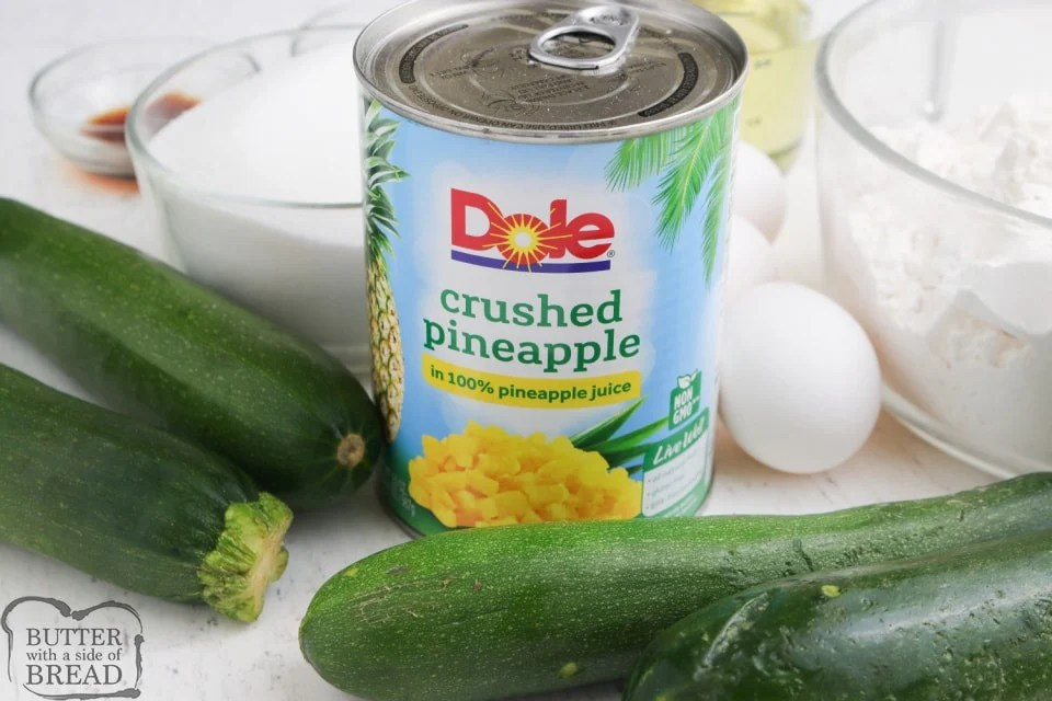 Ingredients in Pineapple Zucchini Bread