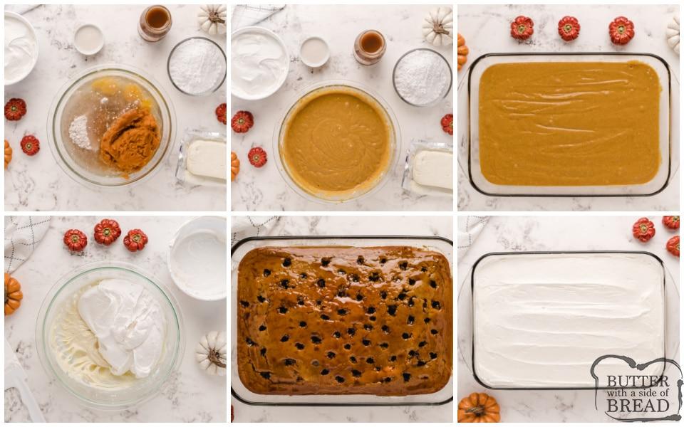 Step by step instructions on how to make Caramel Pumpkin Poke Cake
