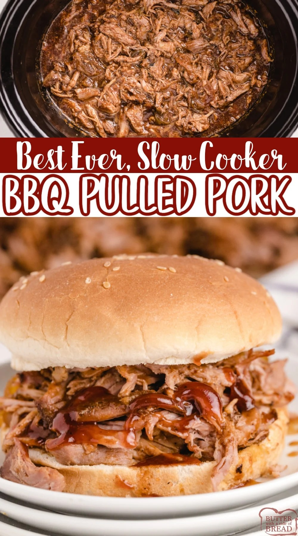 Best EVER Slow Cooker BBQ Pulled Pork! It's moist, tender and packed with flavor! This simple crockpot pulled pork recipe is perfect for making sandwiches or just serving over rice.