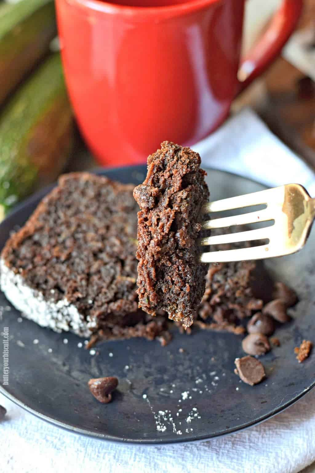 chocolate zucchini bread bite on a fork