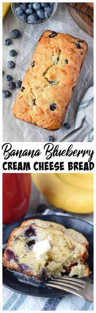 Banana Blueberry cream cheese bread