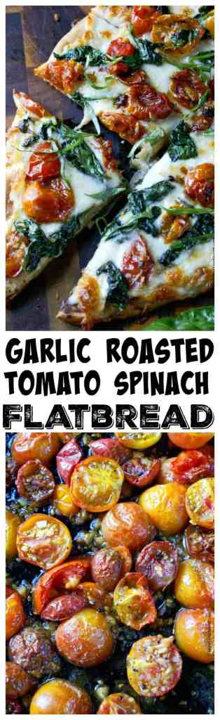 Garlic roasted tomato spinach flatbread