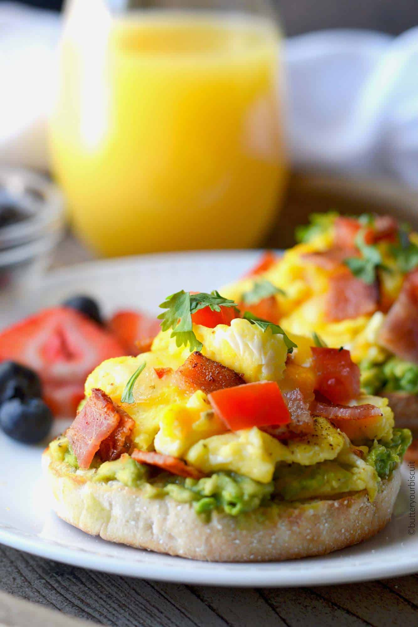 open faced breakfast sandwich