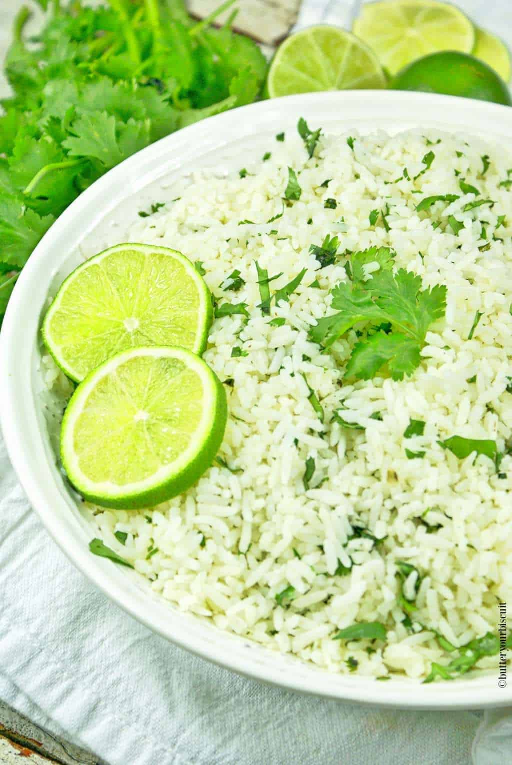 Cilantro Lime Garlic Rice-Butteryourbiscuit.com