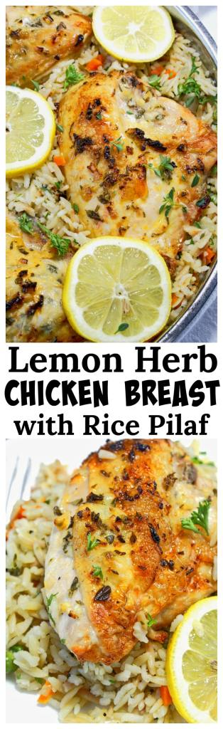 Lemon Herb Chicken Breasts with Rice Pilaf