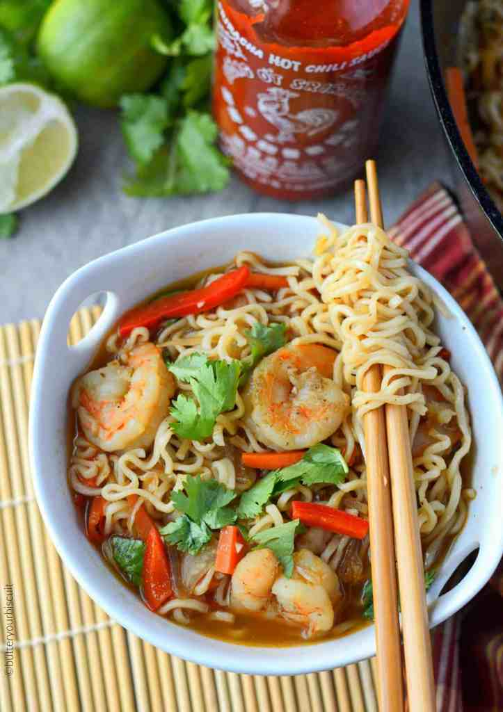 Spicy shrimp ramen bowl with chopsticks