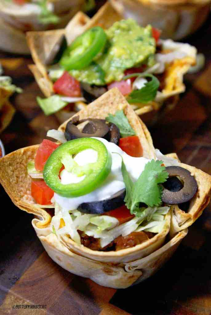 Beef and Bean Taco Cups