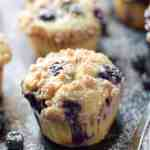sour cream blueberry muffins on a baking sheet