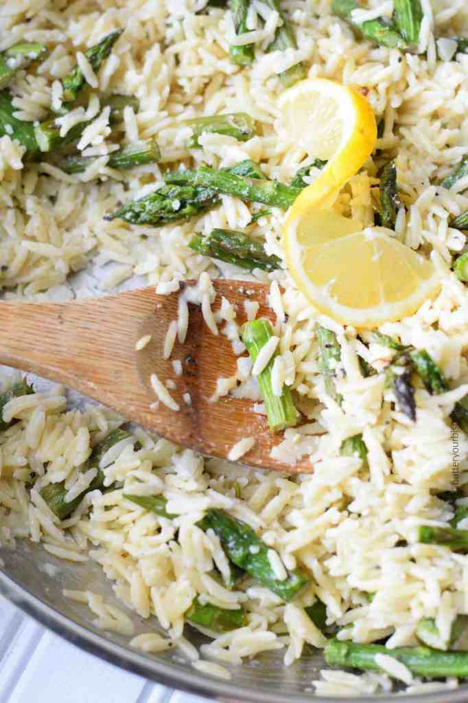 Lemon Garlic Parmesan Orzo with Roasted Asparagus