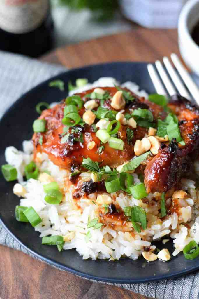 Peach-Chipotle Baked Chicken with Coconut Rice