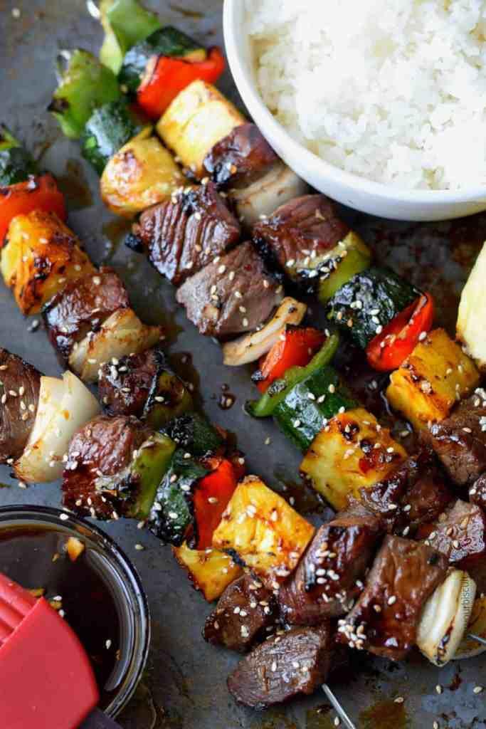 Spicy Teriyaki Grilled Steak Kebabs