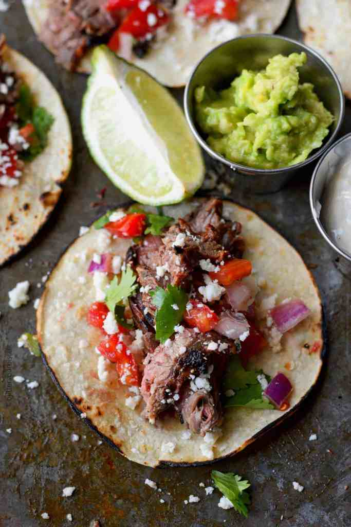 Chipotle lime flank steak street tacos