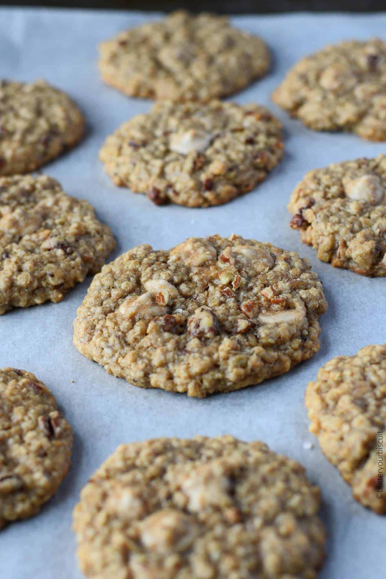 Caramel Pecan Oatmeal cookies on a baking sheet