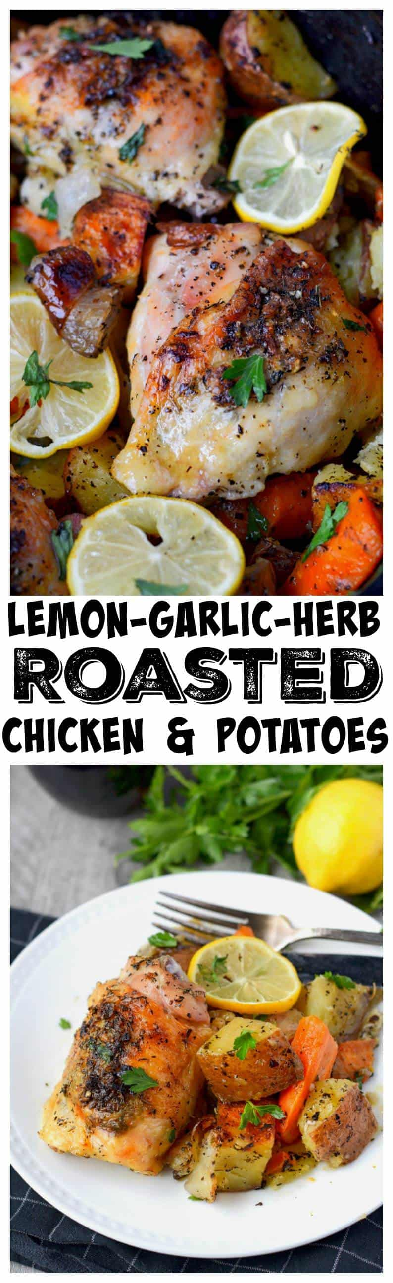 lemon garlic herb roasted chicken and potatoes