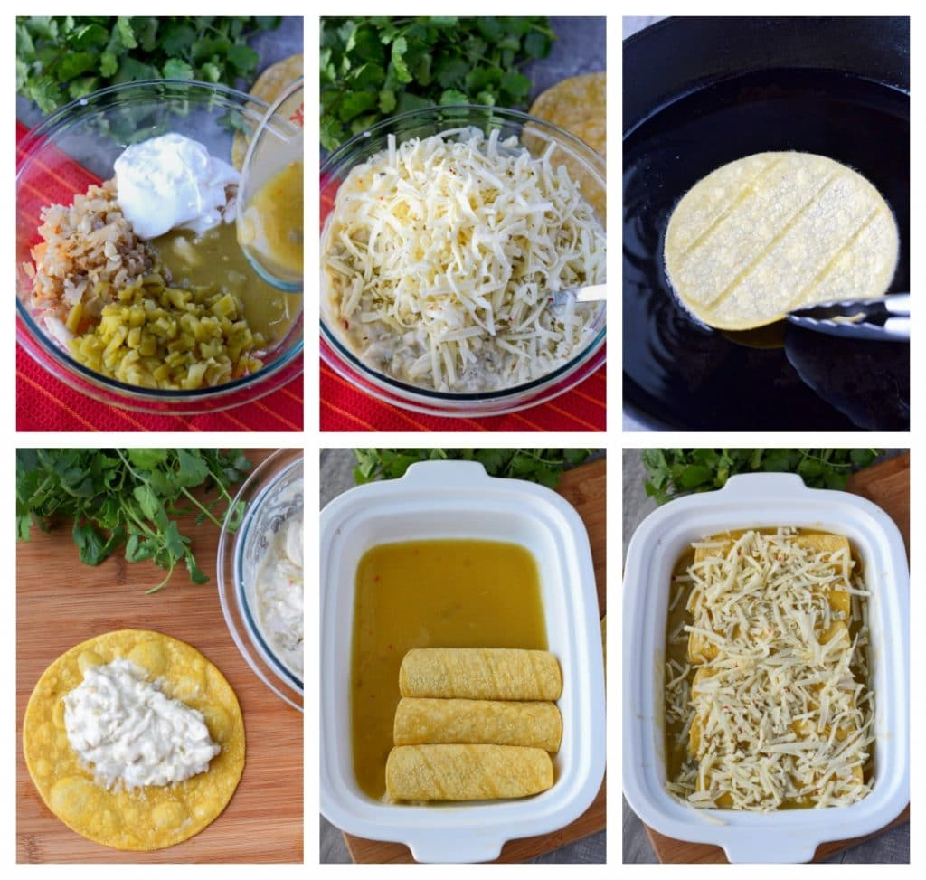 reen chile chicken enchiladas process steps