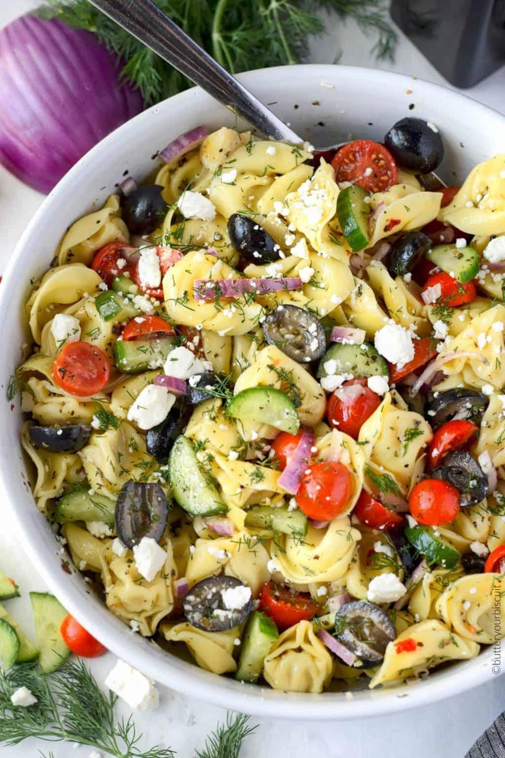 Greek Tortellini Pasta Salad Recipe Butter Your Biscuit