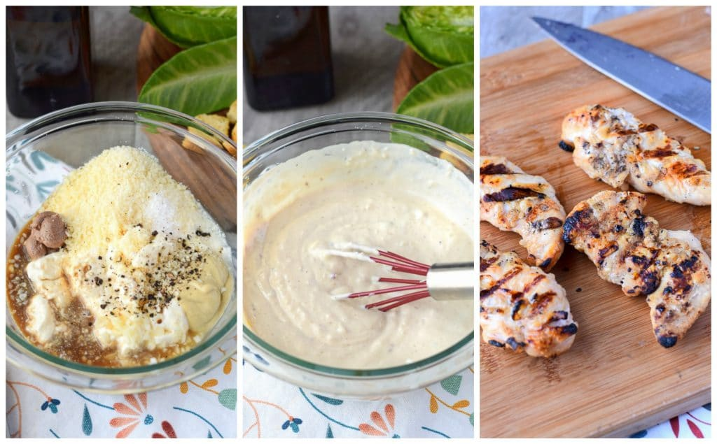 chicken avocado caesar salad dressing prep steps