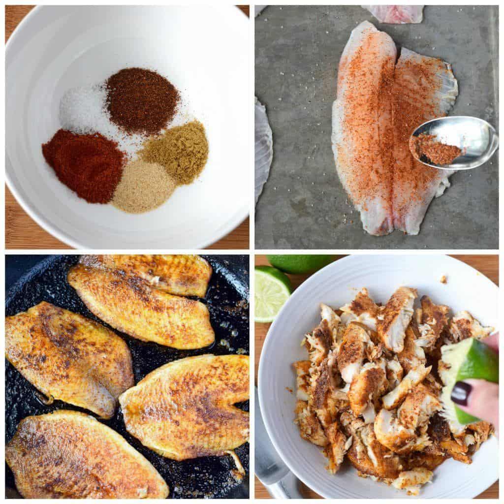 Tilapia fish tacos prep steps