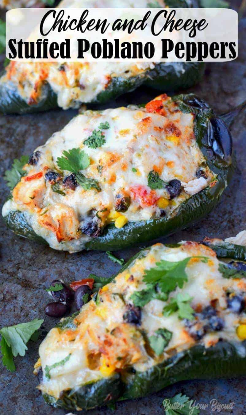 Stuffed Poblano Peppers recipe are smoky and loaded with chicken, cheese, beans, corn and tomatoes. Quick and easy for a delicious weeknight meal! #peppers #stuffedpeppers #easydinner