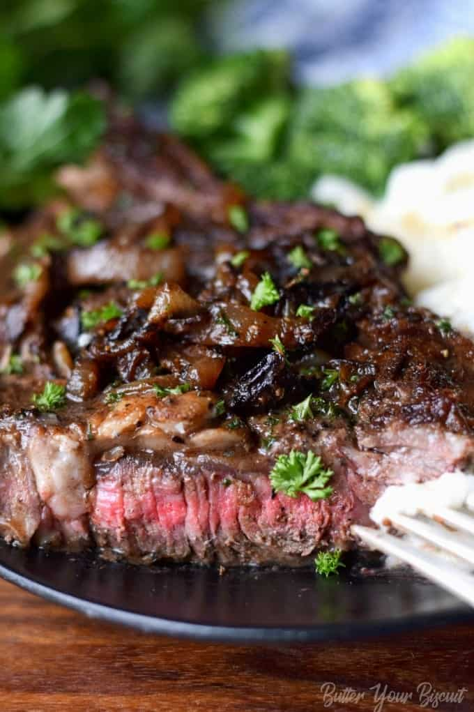Pan Seared Garlic Rib Eye Steak