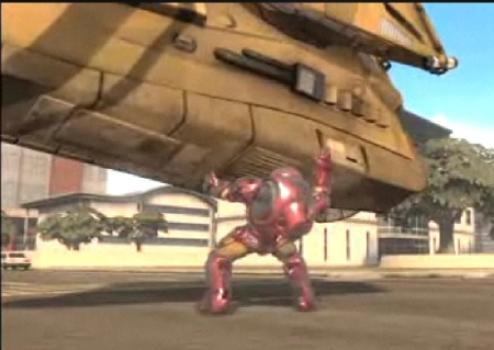 The Hulkbuster throwing a tank, naturally.