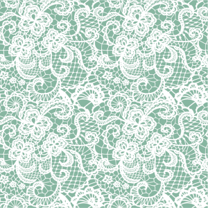 Light mint background with white lace printed overlay