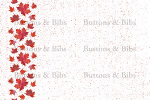 White background with red maple leaves down one side, red flecks throughout