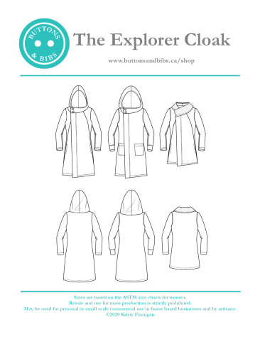 The Explorer Cloak - Cover page. Line drawings of available options.